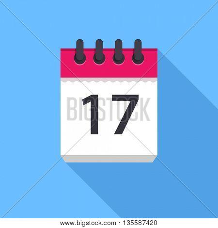 Calendar icon. Flat Design vector icon. Calendar on blue background. 17 day
