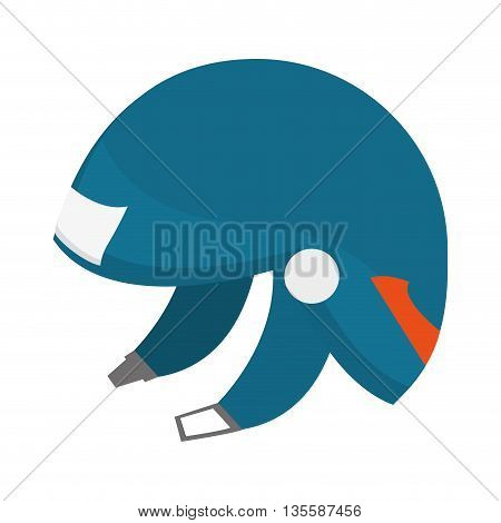 flat design blue ski helmet icon vector illustration