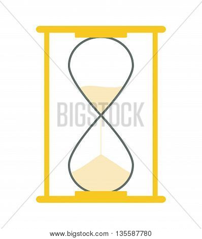 time represented by computer icon over hourglass and flat background
