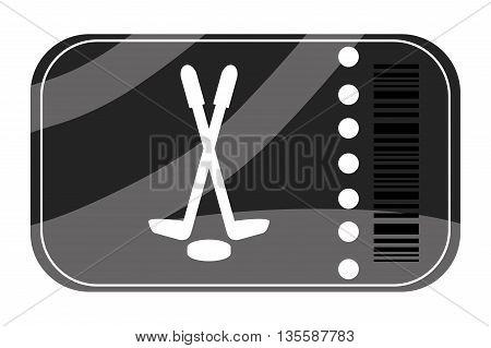 flat design of black hockey ticket vector illustration