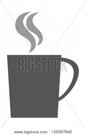 grey silhouette of cup with handle vector illustration