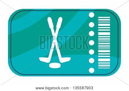 flat design of blue hockey ticket vector illustration