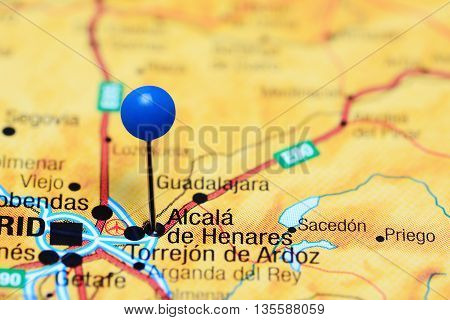 Alcala de Henares pinned on a map of Spain
