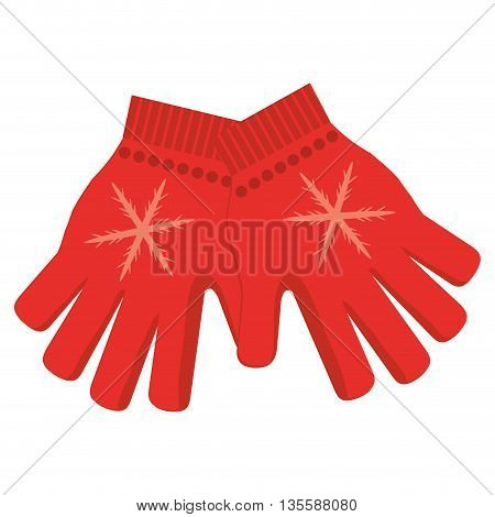 flat design red winter gloves with snowflake icon vector illustration