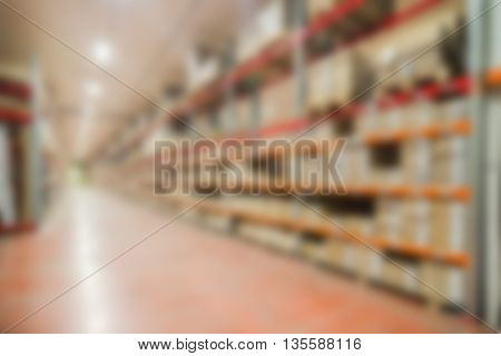 Large modern warehouse theme creative abstract blur background with bokeh effect