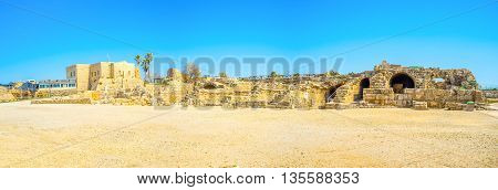 The remains of the ancient architecture located on Mediterranean coast of Israel Caesarea.