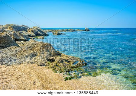 The scenic nature of Caesarea National Park located between Tel Aviv in Haifa in the Western Halilee Israel.