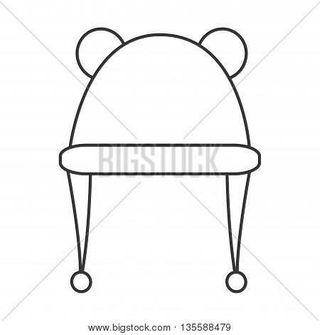 black line hat with two round ears on top icon vector illustration