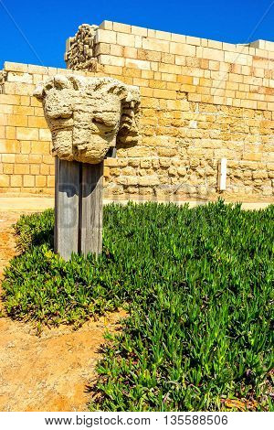 The lion's head was the decoration of the old Colosseum in Caesarea Israel.