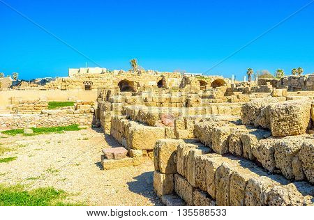 The ancient walls of Caesarea archaeological site were built from the local limestone Israel.