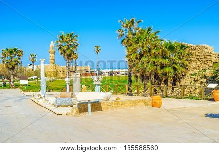 The archaeological site of Caesarea consists of the ancient Roman and medieval Islamic landmarks lying in the coastal zone Israel.