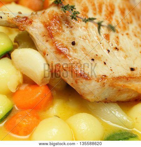 Pork meat and vegetables garnish gourmet restaurant food