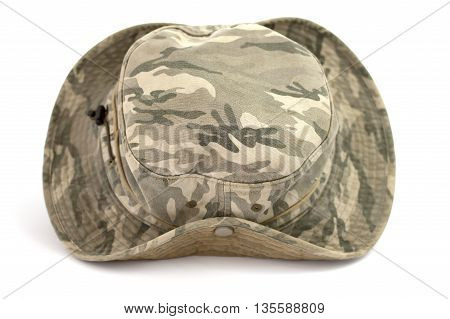 Army camouflaged cap isolated on white background