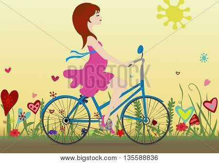 Pregnant girl rides a Bicycle on a blossoming field in the background of the yellow sky. Vector illustration. Horizontal.