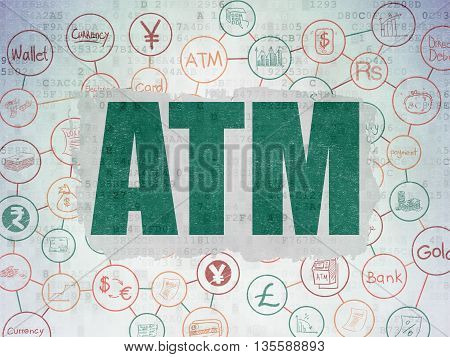 Banking concept: Painted green text ATM on Digital Data Paper background with  Scheme Of Hand Drawn Finance Icons