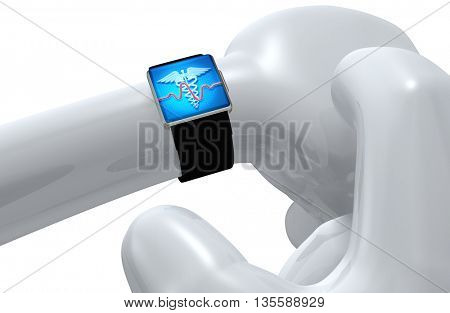 Using Smart Watch Concept Health Monitor 3D Illustration