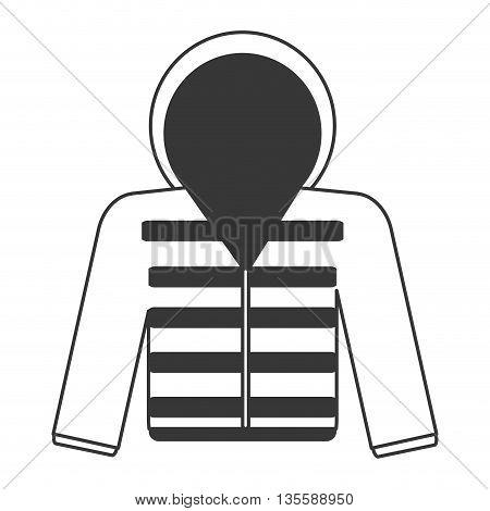 flat design grey line hooded winter jacket icon vector illustration