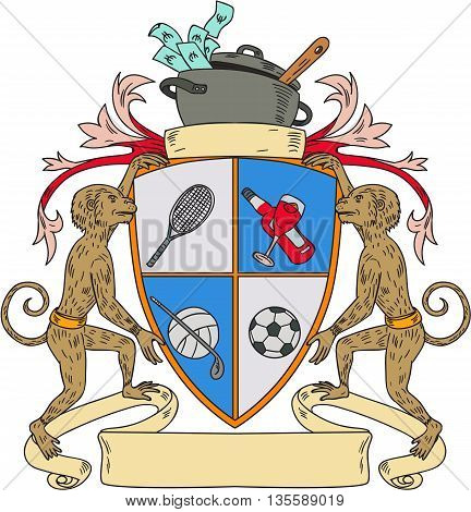 Drawing sketch style illustration of a monkey holding coat of arms with tennis racquet wine golf clubvolleyball soccer ball and cook pot on top with money and ladle set on isolated background.