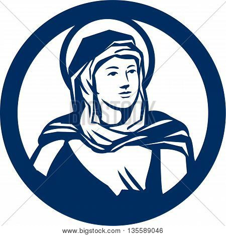 Illustration of the Blessed Virgin Mary looking to the side set inside circle done in retro style.