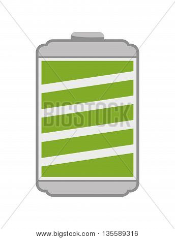 Energy represented by full  battery icon over isolated and flat background