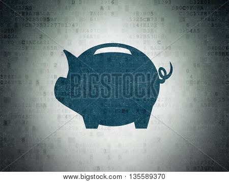 Currency concept: Painted blue Money Box icon on Digital Data Paper background