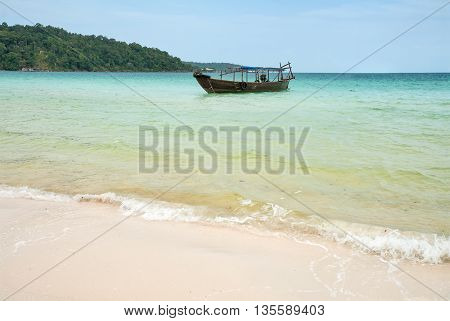 Traditional boat near the coast of the island of Koh Rong Cambodia Southeast Asia