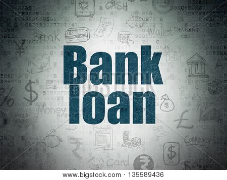Money concept: Painted blue text Bank Loan on Digital Data Paper background with   Hand Drawn Finance Icons