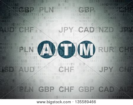 Currency concept: Painted blue text ATM on Digital Data Paper background with Currency