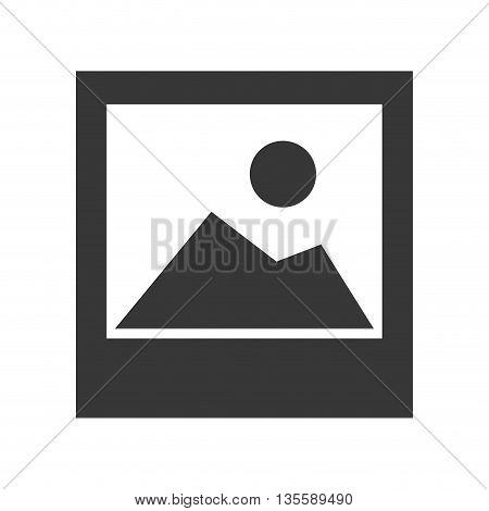 Picture represented by mountain with sun icon over isolated and flat background