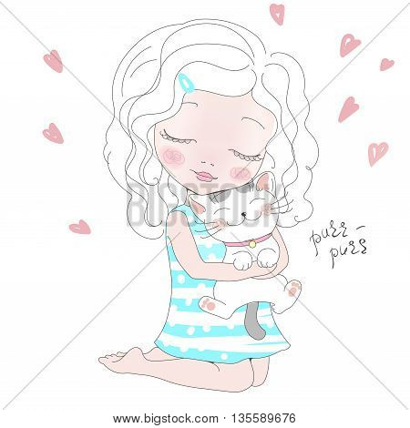 Vector Illustration of a cute girl with a Cat. Girl with her Kitty. Animal love.