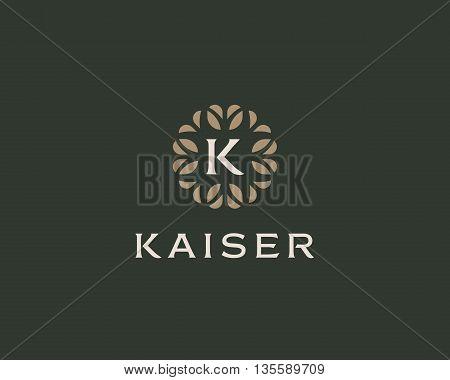 Premium monogram letter K initials logo. Universal symbol icon vector design. Luxury abc leaf logotype