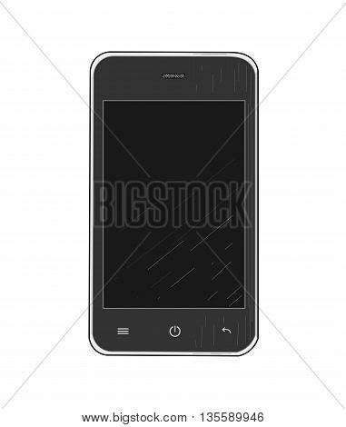 Black mobile phone - modern vector illustration.