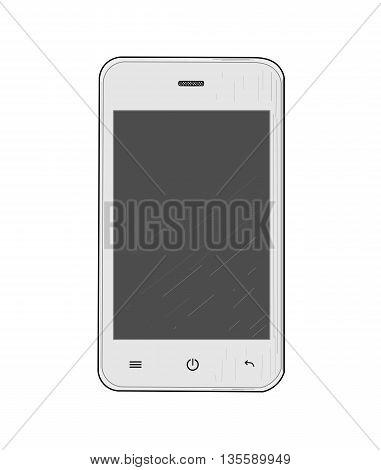 White mobile phone - modern vector illustration.