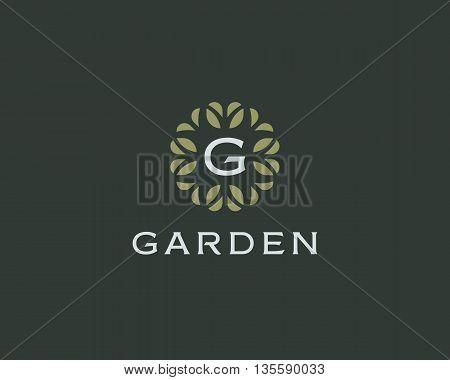Premium monogram letter G initials logo. Universal symbol icon vector design. Luxury abc leaf logotype