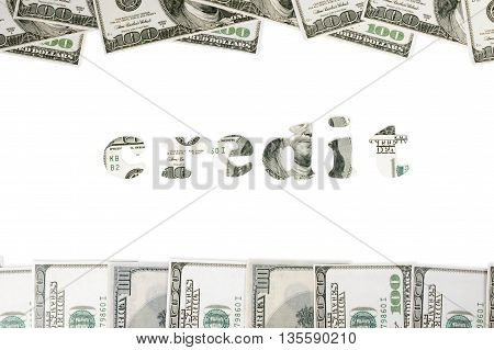 Word credit in the frame at the top and bottom of the dollar isolated on white background