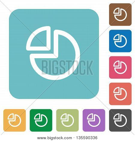 Flat pie chart icons on rounded square color backgrounds.