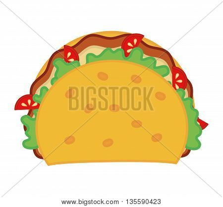 Fast food represented by taco menu over isolated and flat background