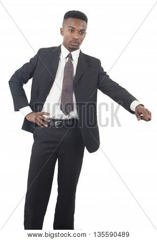 boss pointing in suit and tie on white background