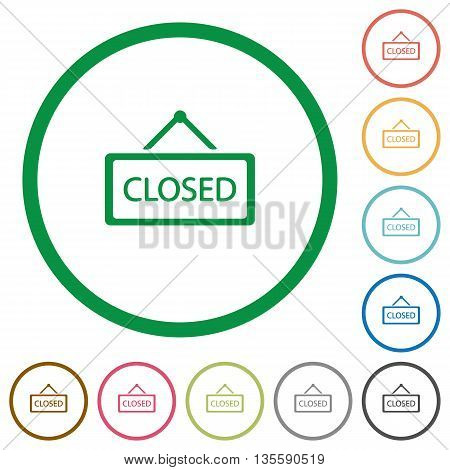Set of closed sign color round outlined flat icons on white background