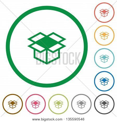 Set of open box color round outlined flat icons on white background