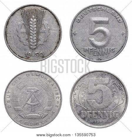 Five Pfennig Coin Of East German Mark