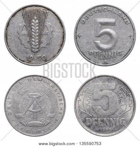 Five Pfennig Coin Of East German Mark