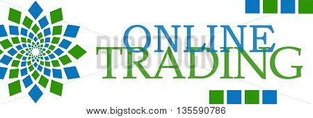 Online trading text written over green blue background.