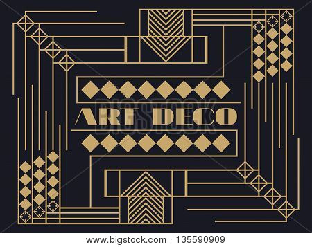 Art Deco Frame. Art Deco Geometric Vintage Frame. Retro Style Background. Style 1920's, 1930's.