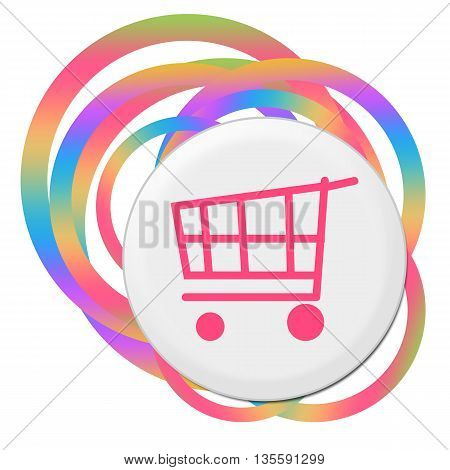 Shopping cart icon with bang over abstract colorful background.
