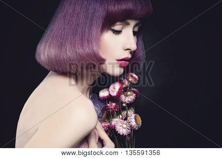 Sensual Gentle Woman with Pink Flowers. Beauty Portrait