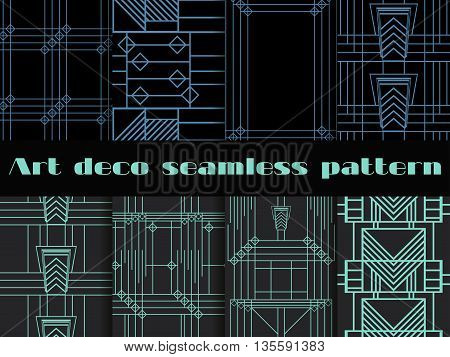 Art Deco Seamless Patterns. Art Deco Geometric Seamless Pattern. Set Retro  Backgrounds. Style 1920'
