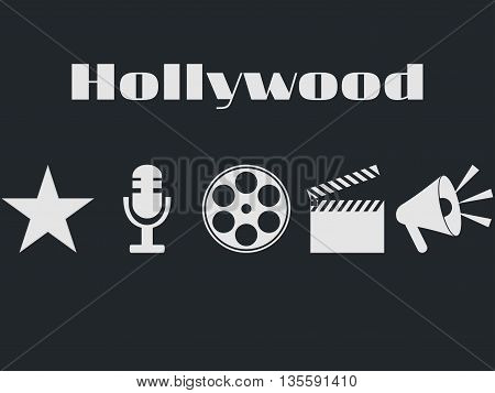 Set of movie design elements and cinema icons. Hollywood icons set. Film reel movie clapper microphone.