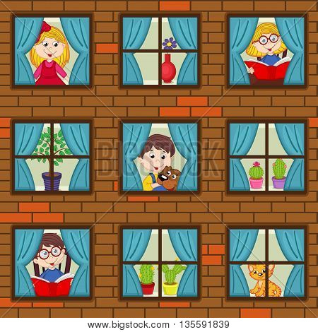 seamless pattern brick wall with children in windows - vector illustration, eps