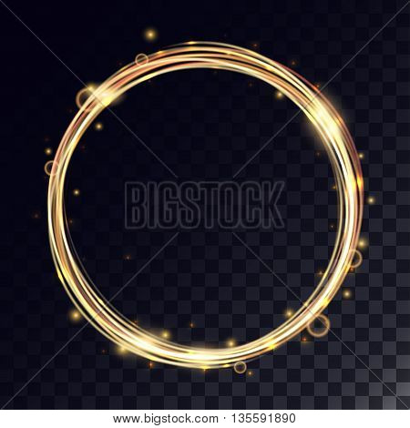 Vector magic circle with light effects. Golden glitter ring with shiny particles and bokeh.
